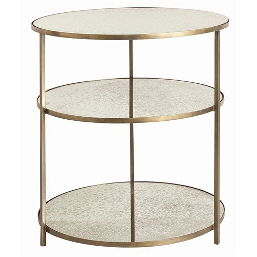 Arteriors Percy Antique BrassMirror Side Table Arteriors Item - Brushed brass side table