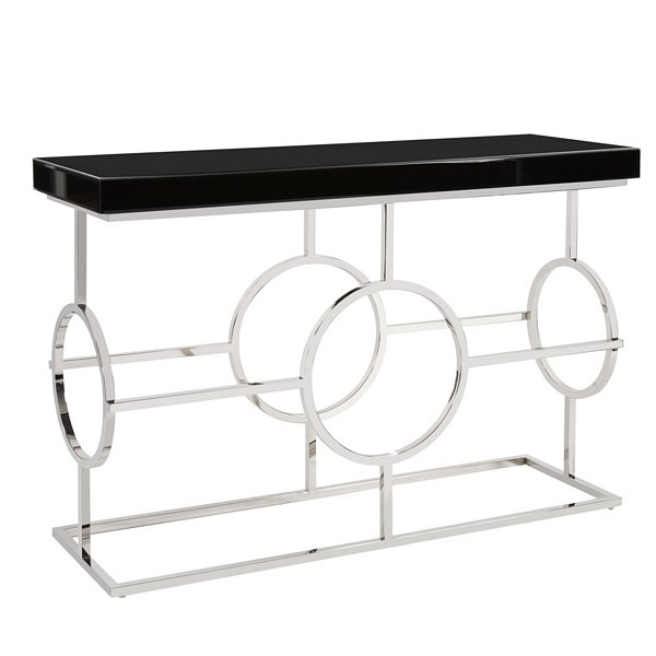 Howard Elliott Stainless Steel Console Table With Black Top | 11182