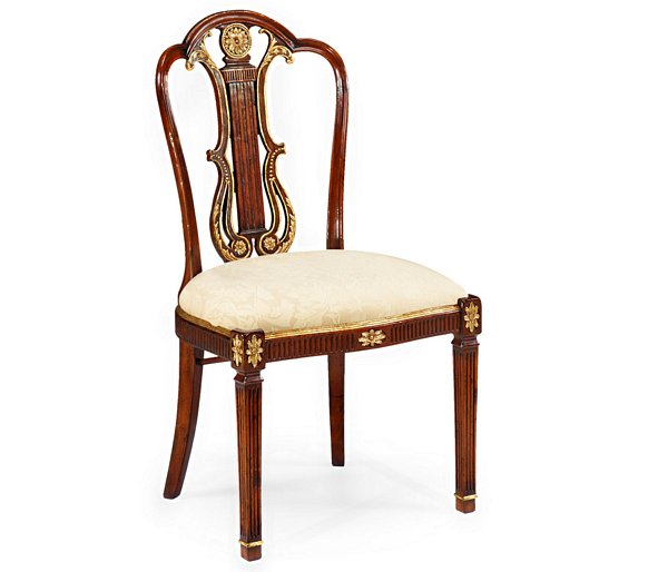 Neo Classical Gilded Lyre Back Dining Side Chair
