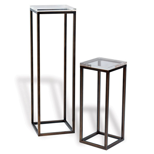 Alex Pedestal Light: Port 68 Drake Bronze/Lucite Pedestals, Set/2