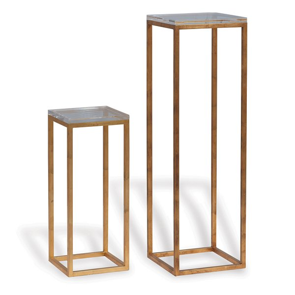 Alex Pedestal Light: Port 68 Drake Gold/Lucite Pedestals, Set/2