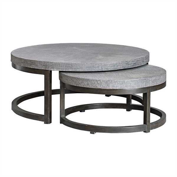 Set Of 2 Square Design Nesting Coffee Tables Made Of Black: Uttermost Aiyara Gray Nesting Tables, Set/2