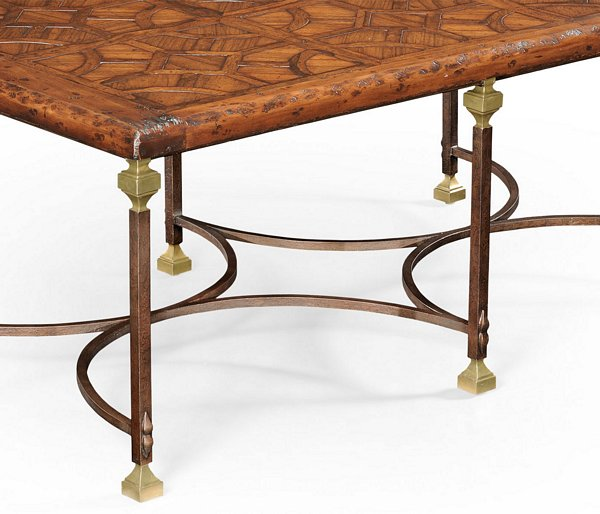 Jonathan Charles Parquetry & Iron Coffee Table