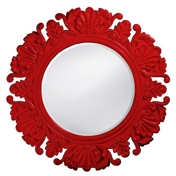 Anita Red Round Mirror