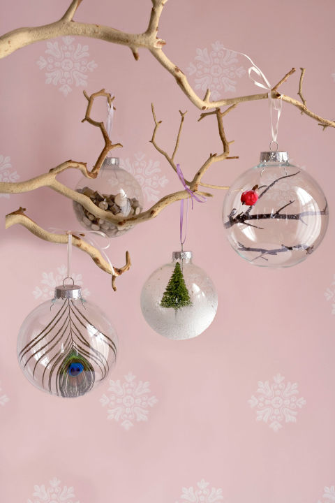 Decoratively challenged inside the designers studio upgrade a plain glass ornament at around a dollar each these empty orbs offer an affordable catalyst for creativity fill one with small wooden chips solutioingenieria Gallery