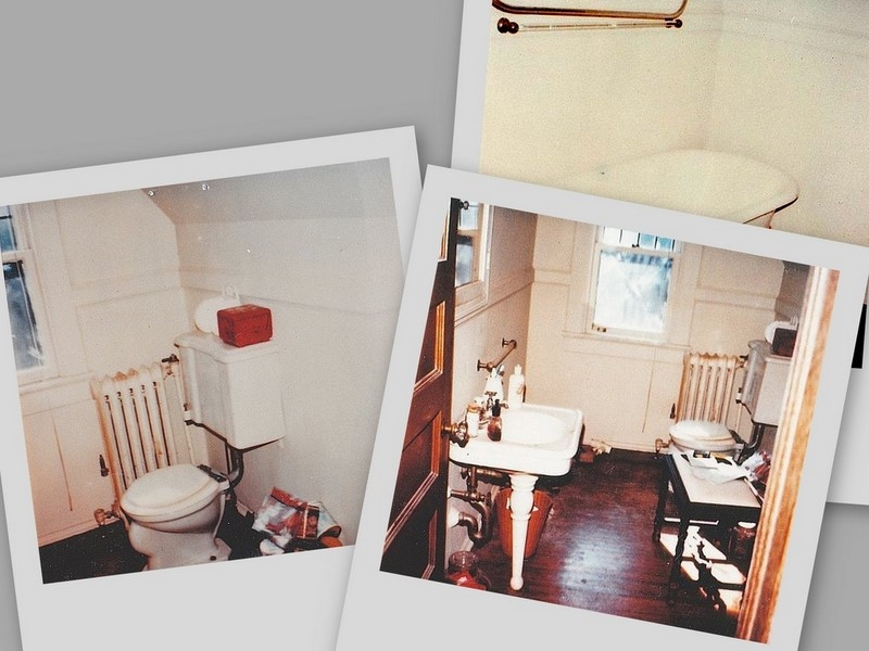 collaged photos of long-neglected attic bathroom